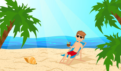 Young guy with a coconut cocktail in hand, resting in the lounger. Man on vacation. Beach and palm trees. The cartoon style.