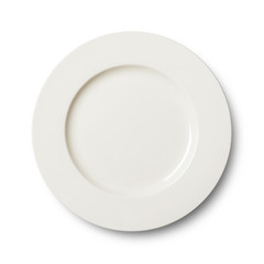 Simple circular porcelain plate isolated on whit  with clipping path
