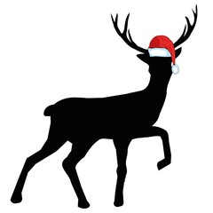 Vector image of an deer and santa hats on blue background. Merry christmas. Animal