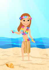 Girl in traditional Hawaiian costume on the beach. The cartoon style. Vector illustration.