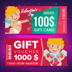 Valentine s Day Gift Voucher Vector. Horizontal Coupon. February 14. Valentine Cupid And Gifts. Shopping Advertisement. Business Love Gift Red Illustration