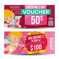 Valentine s Day Voucher Coupon Template Vector. Horizontal Leaflet Offer. February 14. Valentine Cupid And Gifts. Promotion Love Advertisement. Free Gift Red Illustration
