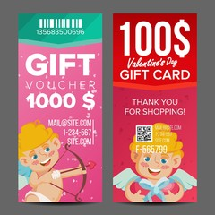 Valentine s Day Voucher Coupon Template Vector. Vertical Leaflet Offer. February 14. Valentine Cupid And Gifts. Promotion Love Advertisement. Free Gift Red Illustration