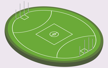 Isometric field for Australian football, isolated image