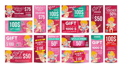 Valentine s Day Voucher Gift Design Vector. Set Horizontal Vertical Discount. Happy Valentine Cupid And And Gifts. February 14 Advertisement. Marketing Illustration