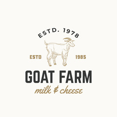 Goat Dairy Farm Abstract Vector Sign, Symbol or Logo Template. Hand Drawn Goat Sillhouette with Retro Typography. Vintage Emblem.