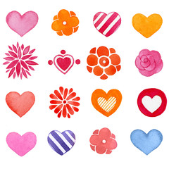 Set of hand-drawn shapes. Flowers, hearts, watercolor romantic icons.