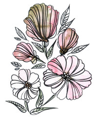Set of flowers, buds, and leaves. Hand-drawn line art floral illustration.