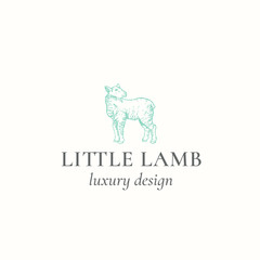Little Lamb Abstract Vector Sign, Symbol or Logo Template. Hand Drawn Engraving Sheep Sillhouette with Retro Typography. Vintage Luxury Vector Emblem.