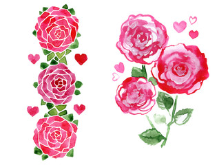 Rose bouquet, romantic love illustration. Great for Valentine's cards and wedding invitations.