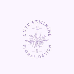 Cute Feminine Vector Sign, Symbol or Logo Template. Abstract Retro Floral Illustration with Classy Typography. Premium Quality Emblem for Beauty Salon, SPA, Wedding Boutiques, etc.