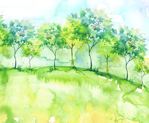 Watercolor background. Blossoming meadow, field, countryside landscape. Green Tree. Summer, Spring landscape. Silhouettes of forest, trees, wild grass, flower, plant. With a place for writing.