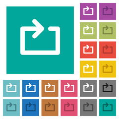 Media loop square flat multi colored icons