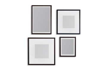 Set of black modern frame isolated on white with clipping path