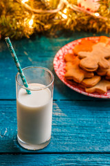 Photo of ginger biscuits, glass of milk, spruce branches with burning garland