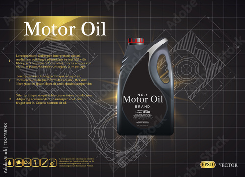 Bottle Engine Oil On A Background A Motor Car Piston, Technical  Illustrations. Realistic