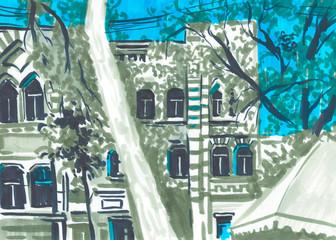 Castle marker Landscape. Travel Background. Castle building. Hand drawn sketch illustration.