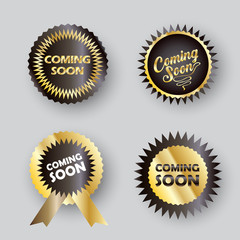 Coming soon - labels set, unique stamp symbols, modern frames, icons, stickers, elements advertising website, sale, promo flyer, brochure design vector banners under construction sign template
