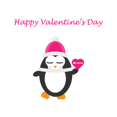 Cute penguin with heart, happy valentine's day, be mine, flat design for invitation card, vector illustration in cartoon style