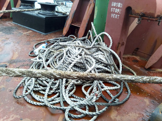 Rope ladder on the ship. Rope and wood