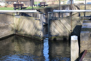 doors of sluice at Rotte river in Zevenhuizen