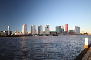Rotterdam skyline in evening sun