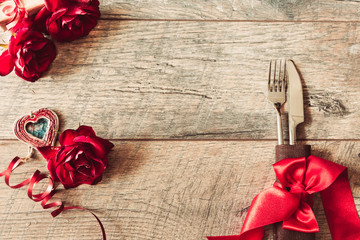 Valentines day background. Valentines day table place setting Wooden table with copy space