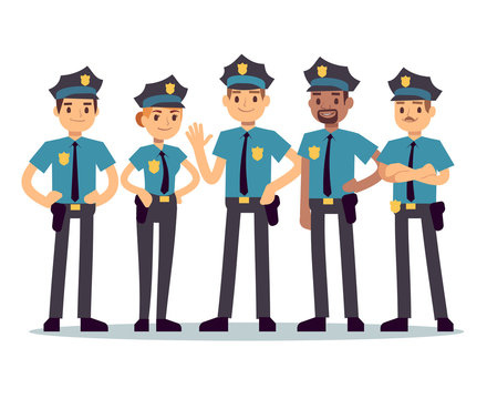Group of police officers. Woman and man cops vector characters