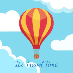 Cartoon hot air balloons in blue sky with clouds vector illustration