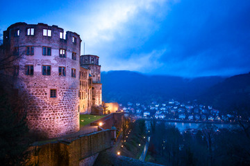 Tower of Heidelberg Castle at Night and View of the Town
