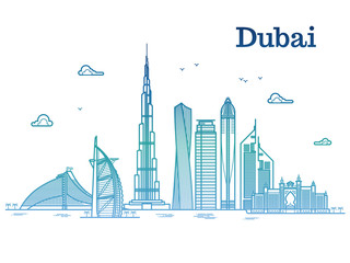 Colorful detailed dubai line vector cityscape with skyscrapers