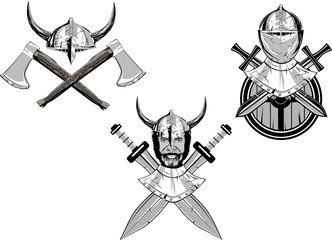 Vikings vector heads, vector set.