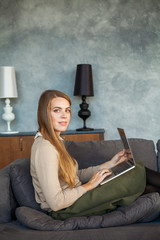 Smiling Model Woman with Laptop