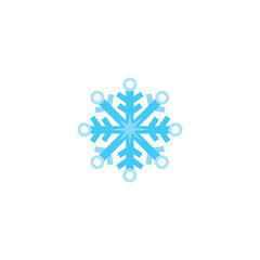 Flat cartoon snow flake, snowflake, winter, New Year, Christmas symbol, vector illustration isolated on white background. One, single snowflake, flat cartoon Christmas, winter symbol