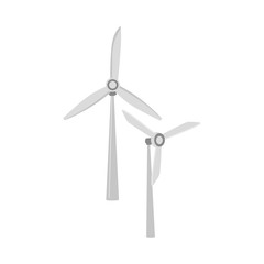 vector flat windmill, wind turbines icon. Generator of renewable green ecological bio friendly alternative energy. Isolated illustration on a white background.