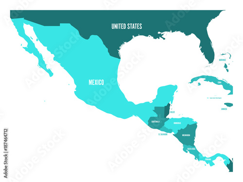 Political map of Central America and Mexico in four shades of ...