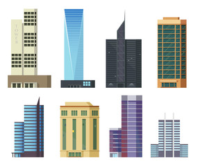 Set of icons skyscrapers.Buildings and modern city houses,flat illustration