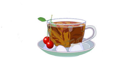 A delicious cup of fruit tea with cherris