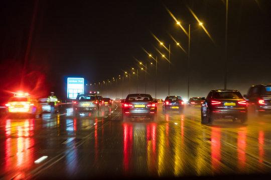 Motion Blur British Motorway Traffic and Police