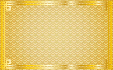 Oriental vintage gold frame on golden pattern background for chinese new year celebration card, poster, banner or flyer, vector illustration