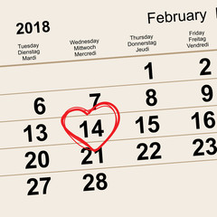 14 February 2018 Saint Valentines Day. Calendar reminder date heart shape