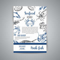 Seafood banner vector template set. Hand drawn vector illustrations. Gift certificate. Sketch of crab, lobster, shrimp, oyster, mussel