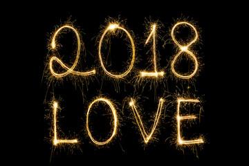 Happy Valentines Day - sparkler firework light alphabet