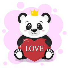 Panda in the crown sits and holds in the paws a red heart with the inscription love, in the style of cartoons.