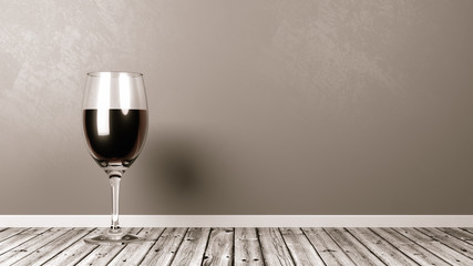 Red Wine Glass on Rustic Wooden Floor