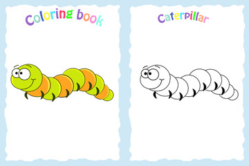 Coloring book page for preschool children with colorful caterpillar  and sketch to color.