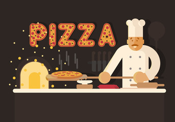 Flat illustration with pizza and baker