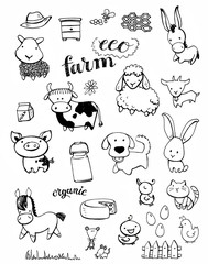 Collection of hand drawn babies of farm animals