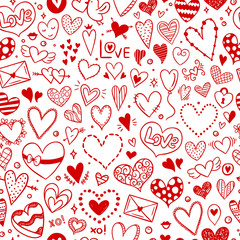 Love background. Red hand drawn hearts pattern for wedding and Valentine cards