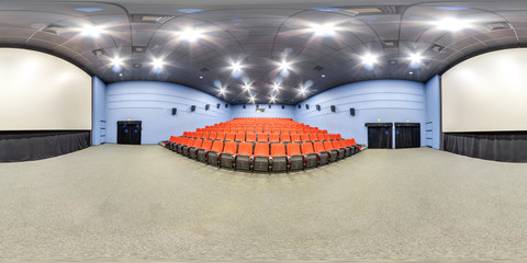 3D spherical panorama with 360 viewing angle. Ready for virtual reality or VR. Full equirectangular projection. Interior of cinema hall.